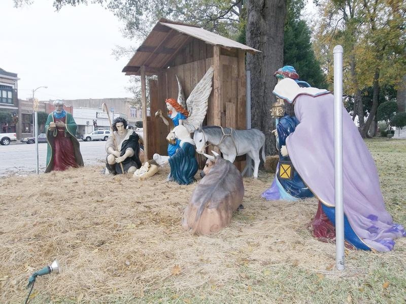 Nativity scene in front of Henderson County Court House